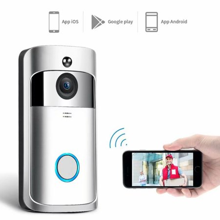 VicTsing Wireless Wifi Doorbell Smart Video Phone Door Visual Ring Intercom Secure Camera Anti-theft Free Cloud Service Two-Way Talk Night Vision PIR Detection APP Control for IOS (Best App For Printing From Android Phone)