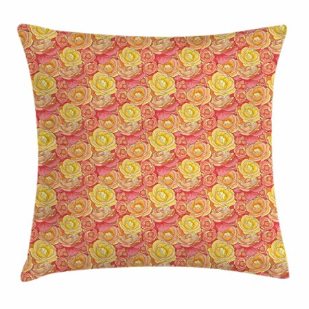 Pink And Yellow Theme (Pale Pink Throw Pillow Cushion Cover, Romantic Roses Garden Illustration Nature Inspired Valentine's Day Themed, Decorative Square Accent Pillow Case, 16 X 16 Inches, Yellow Coral Pink, by)