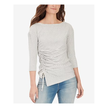 WILLIAM RAST Womens Pink Ruched Striped 3/4 Sleeve Boat Neck T-Shirt Top  Size: XS 08 Womens Pink T-shirt