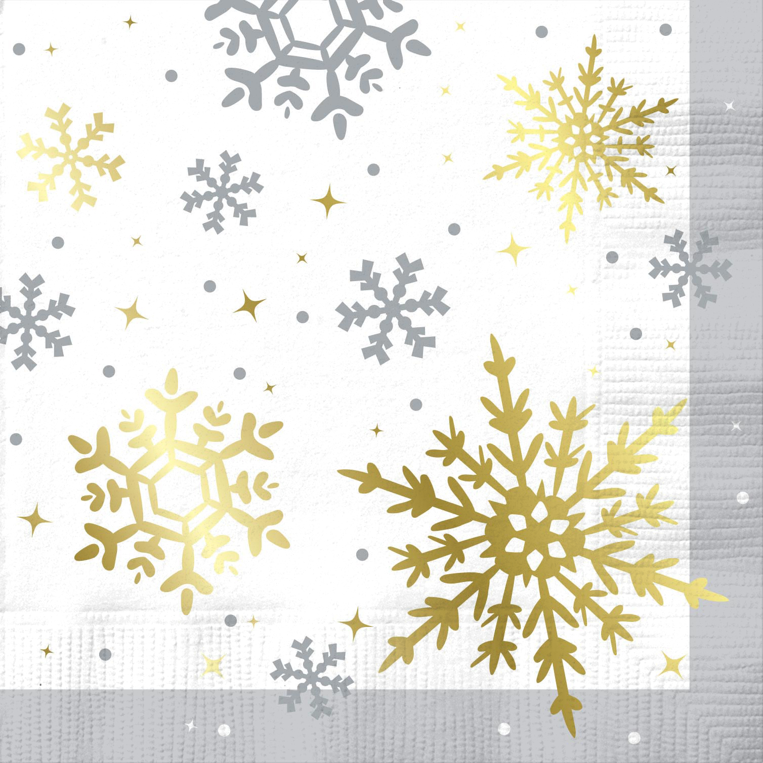 Foil Gold & Silver Snowflake Christmas Cocktail Napkins, 20ct