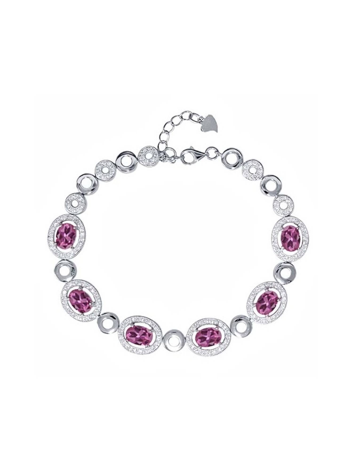 7.02 Ct Oval Pink Tourmaline 925 Sterling Silver Bracelet by Opal Pins