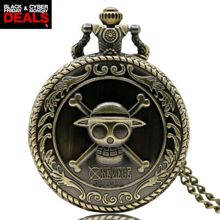 Antique Bronze pocket watch Black Friday&Cyber Monday Deal gift for Women, Pirate Skull Quartz pocket watches gift for Men, Pendant Necklace watch Christmas day gift for