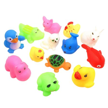 Swimming Tub Bathtub Pool Cute Swimming Turtle Toys for Boys Girls, Summer Baby Children Bathing Water Toys Animal Pinching Voice Float Squeaky Animal Toy 13 Pcs (Tub Toys For Toddlers)