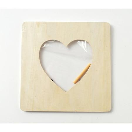 Plaid Wood Heart Frame, 7-1/2\
