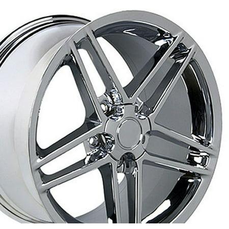 18x9.5/17x9.5 Wheels Fit Corvette (C5), Camaro (4th Gen) - C6 Z06 Style Chrome Rims - Staggered SET