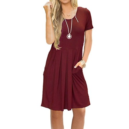Short Sleeve Pleated Dress (Women's Short Sleeve Pleated Loose Swing Casual Dress with Pockets Knee Length)