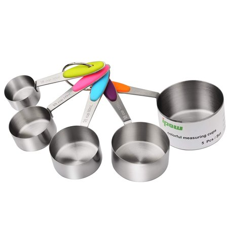 IPOW Stainless Steel Dry & Liquid Measuring Cups Set of 5 Adjustable Mini Stackable Kitchen Measure Cup with Good Grips for Kids, Toddler, Baking, Weight Loss (1/8, 1/4, 1/3, 1/2, 1 Cup)
