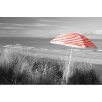 Color Pop, Beach umbrella on the beach, Saunton, North Devon, England, Living Coral Print Wall Art