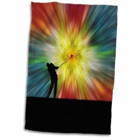 - 3dRose Tie Dye Silhouette Golfer - colorful tie dye silhouette golfer driving - Towel, 15 by 22-inch