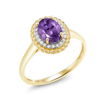 10K Yellow Gold Diamond Engagement Ring 1.15 Ct Oval Purple Amethyst