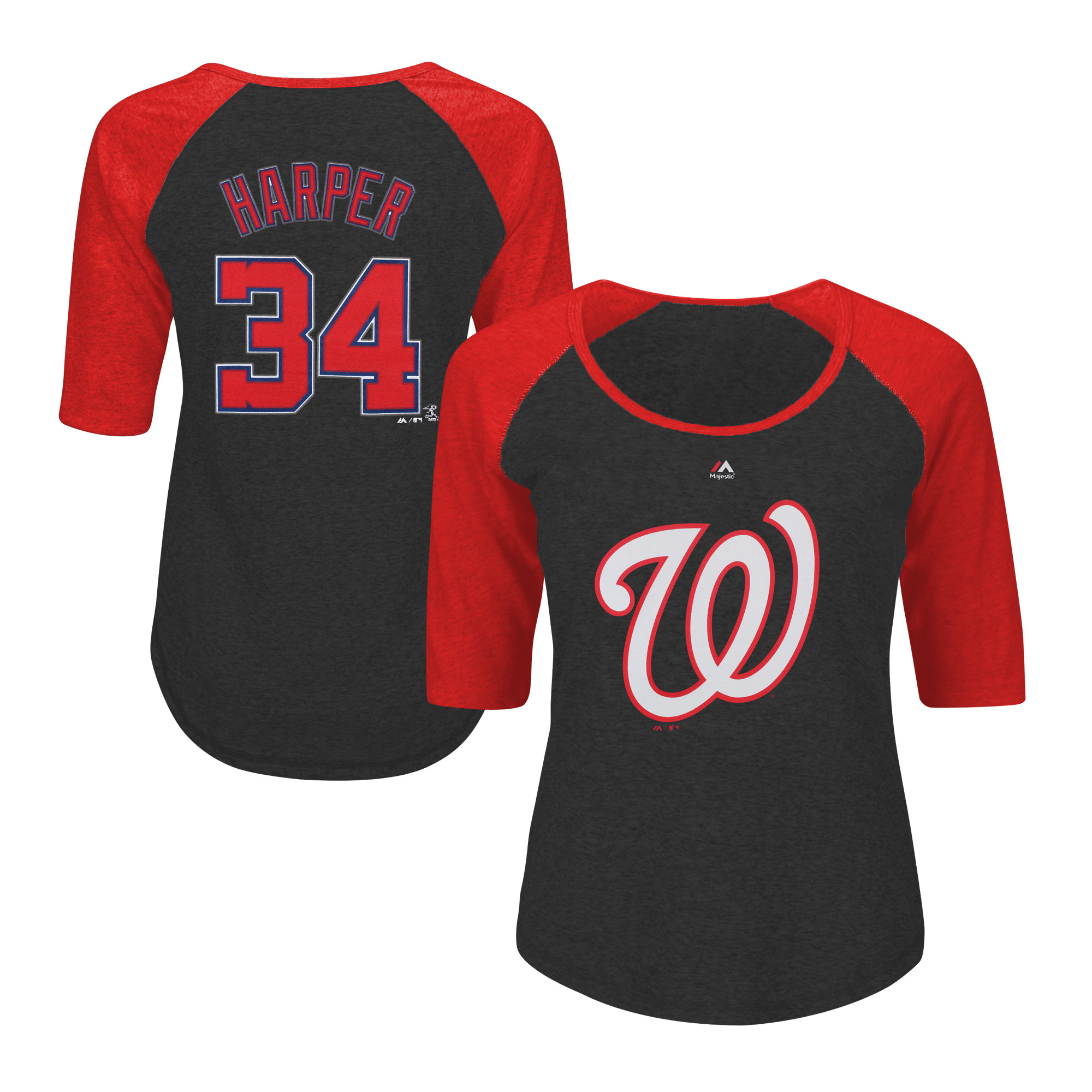 Bryce Harper Washington Nationals Majestic Women's Plus Size Name & Number Three-Quarter Sleeve Raglan T-Shirt - Charcoal