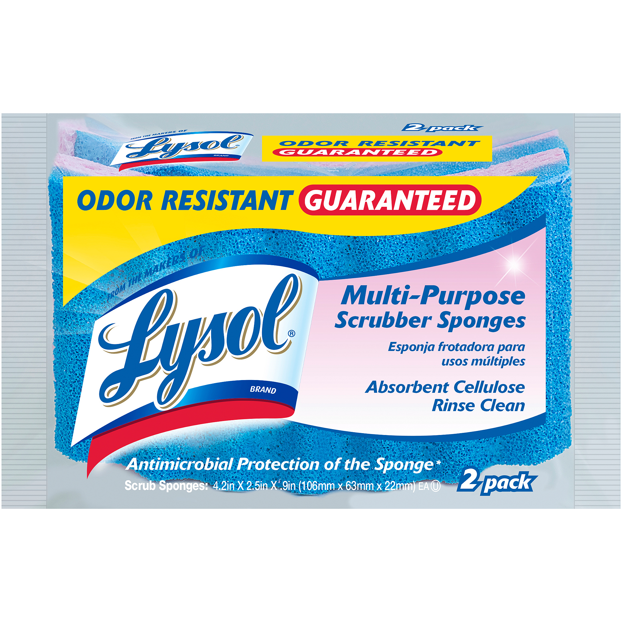 Lysol Rinse Clean Scrubber Sponges, 2 ct