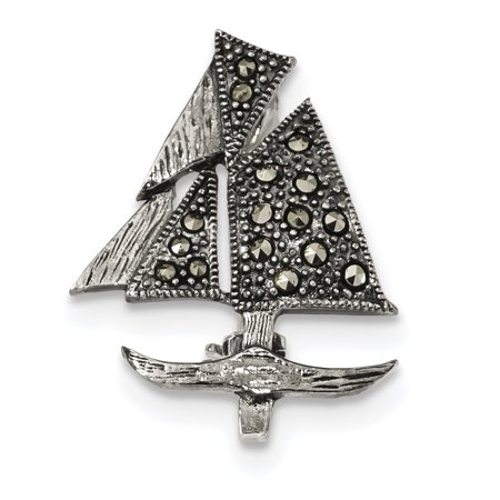 925 Sterling Silver Marcasite Sailboat Pin Gifts For Women For Her