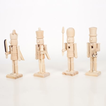 """4pcs Wooden Nutcracker Soldier Figurines, Traditional Christmas Wooden Nutcracker Figurines Unpainted Doll, Xmas Birthday Gift, Festive Christmas Decor, Perfect for Shelves & Tables, About 7.5"""" Tall"""