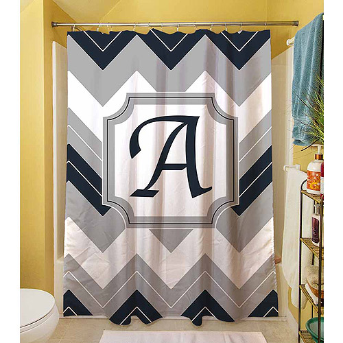 Thumbprintz Chevron Monogram Blue Shower Curtain