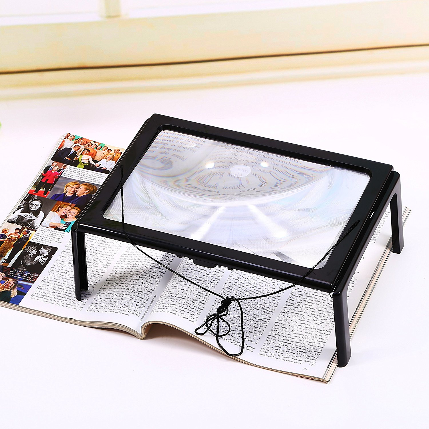 3X Magnification Reading Magnifier Foldable Desk Magnifier A4 Full Page Large Hands Free Page  Magnifier with  4 LED Lights Ultra-thin Lens Stand For  Inspection Repair Needlework Hobby and Craft