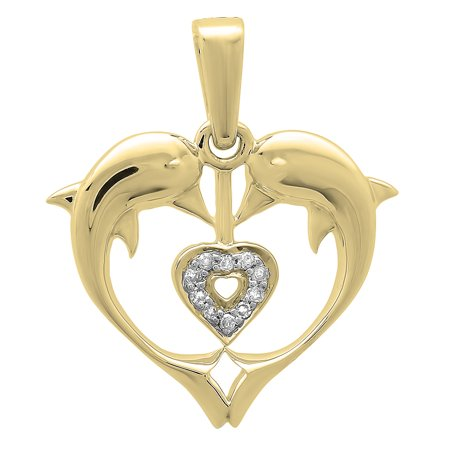 0.05 Carat (ctw) 18K Yellow Gold Real Round Diamond Ladies Double Dolphin Heart Pendant