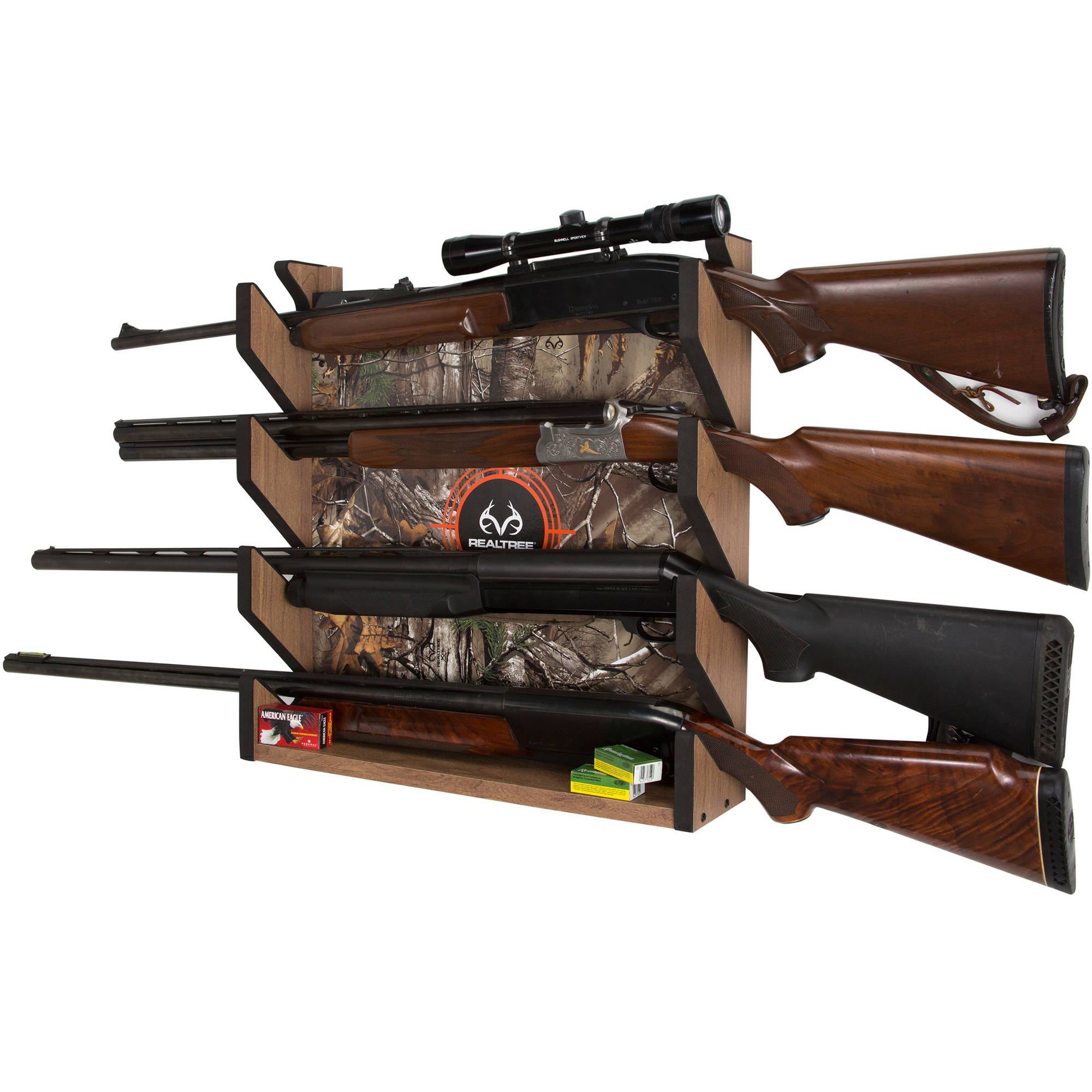 Click here to buy Rush Creek Creations REALTREE Camo 4 Gun Pine Wall Storage Rack by Rush Creek Creations.