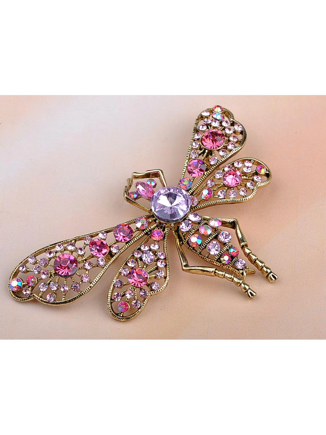 Fuchsia Tanzanite Crystal Rhinestone Gold Tone Mosquito Bug Fly Pin Brooch by