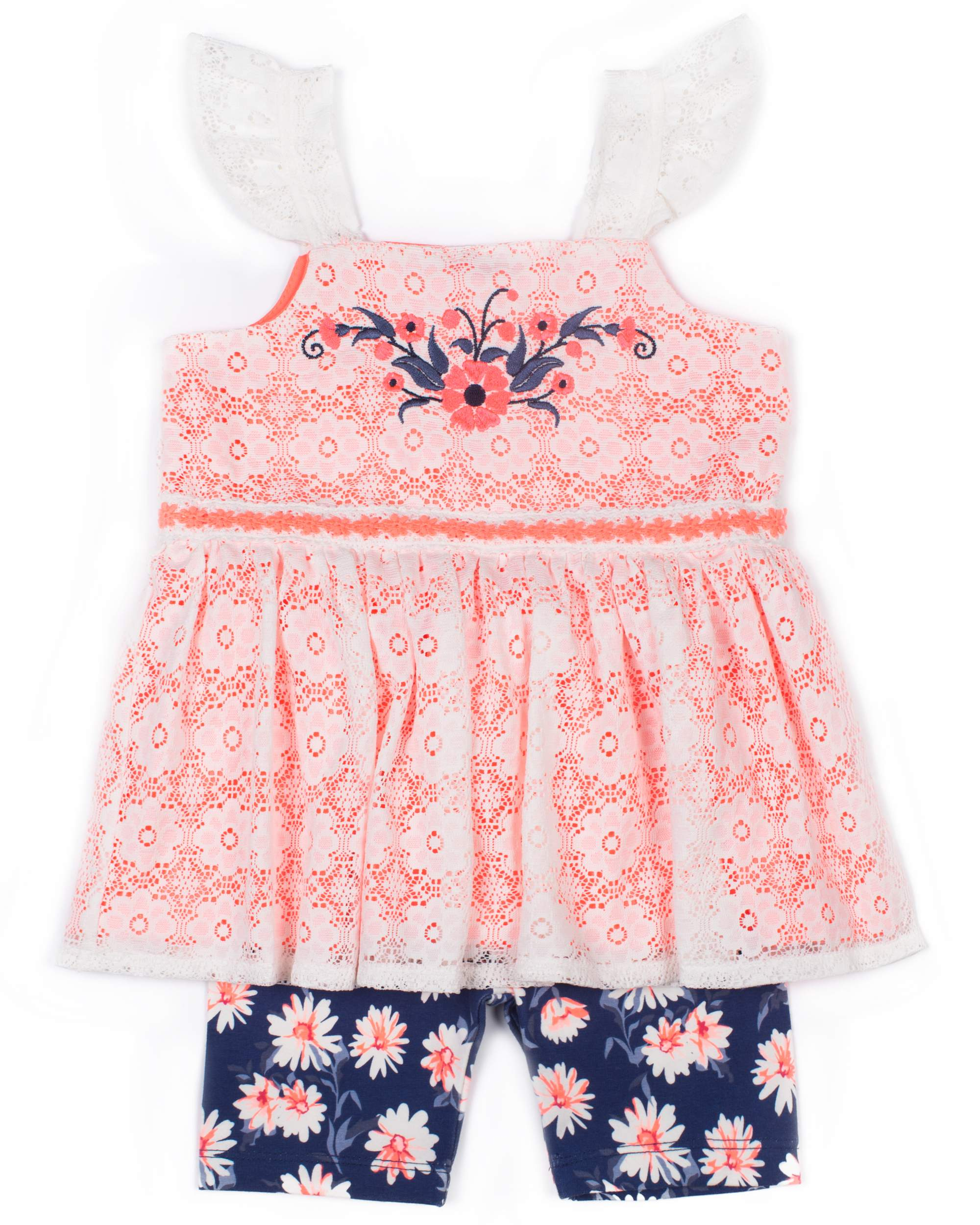 Sleeveless Babydoll Top & Bike Shorts, 2-Piece Outfit Set (Toddler Girls)