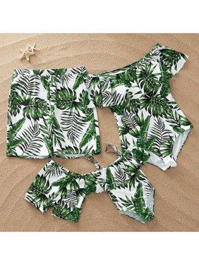 PatPat Full of Leaves Family Matching Swimsuit Women Men Boy Girl Beach Swimwear