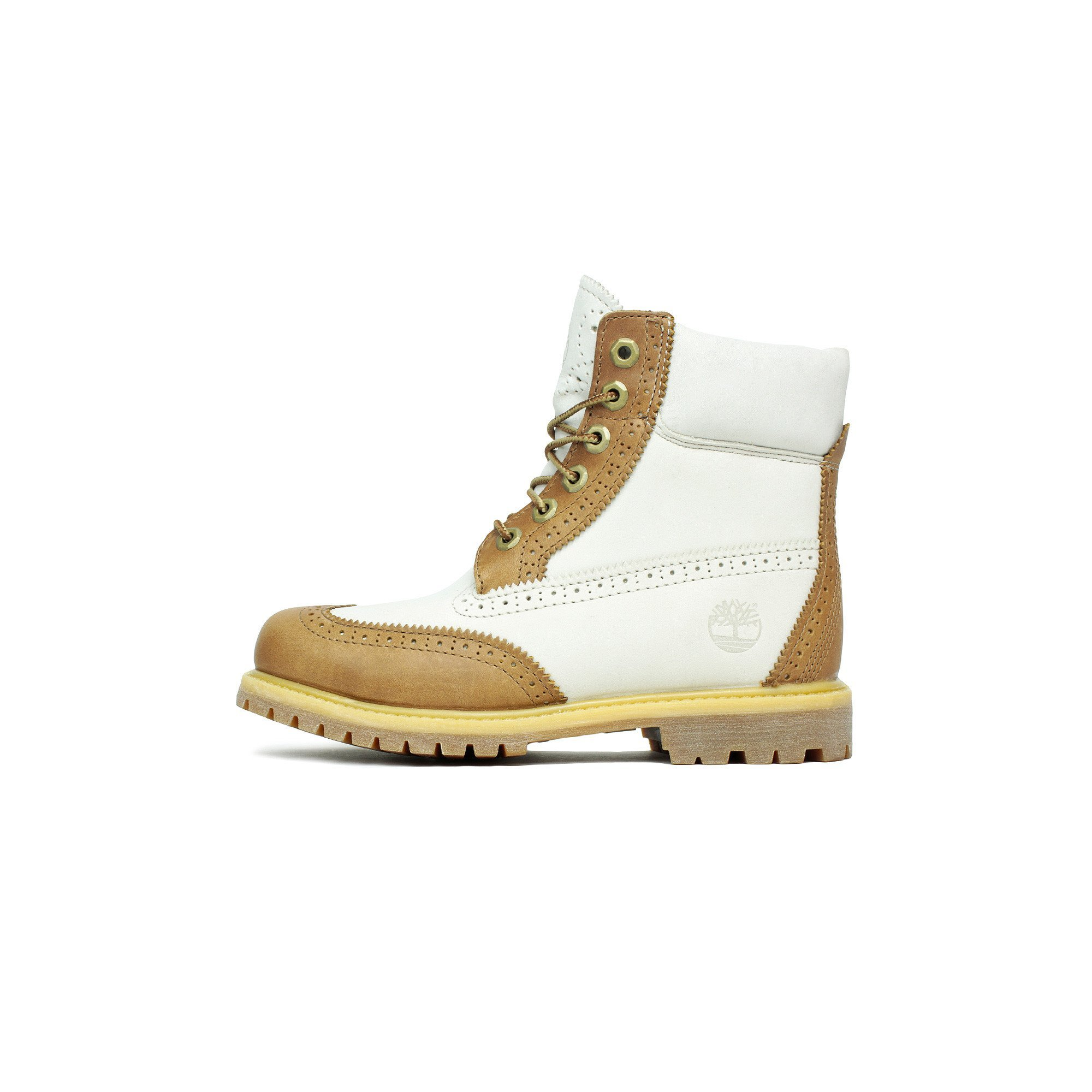 Womens Timberland 6 Inch Premium Boot Brogue Tan White TB0A1G6T by