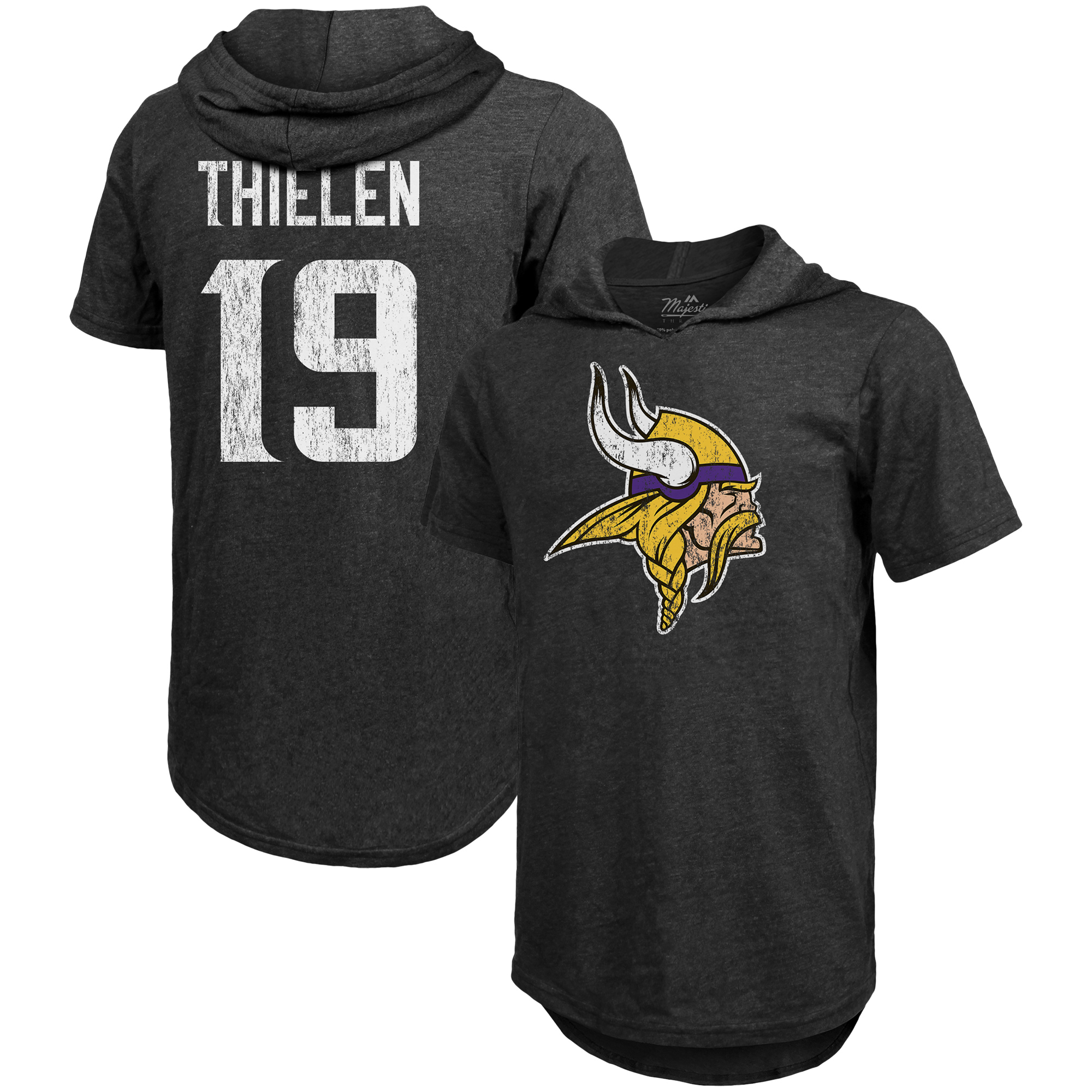 Adam Thielen Minnesota Vikings Majestic Threads Tri-Blend Hooded Name & Number T-Shirt - Black