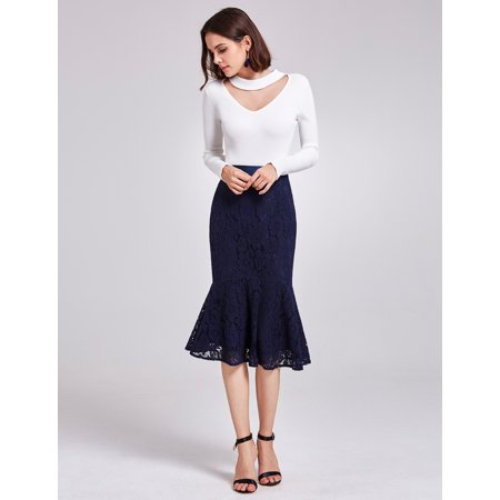 - Alisa Pan Women's Elegant Mermaid Bodycon Career Suiting Lace Midi Pencil Skirt for Women 01141 Navy Blue