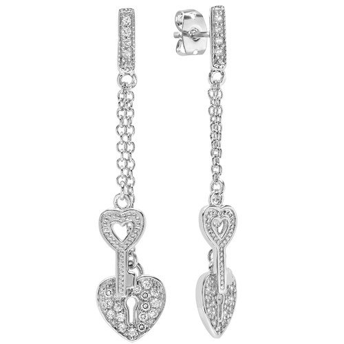 Sterling Essentials Key To My Heart Cubic Zirconia Drop Earrings