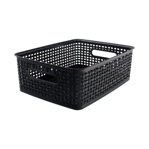 Super Stacker Plastic Weave Bin, Black/Gray