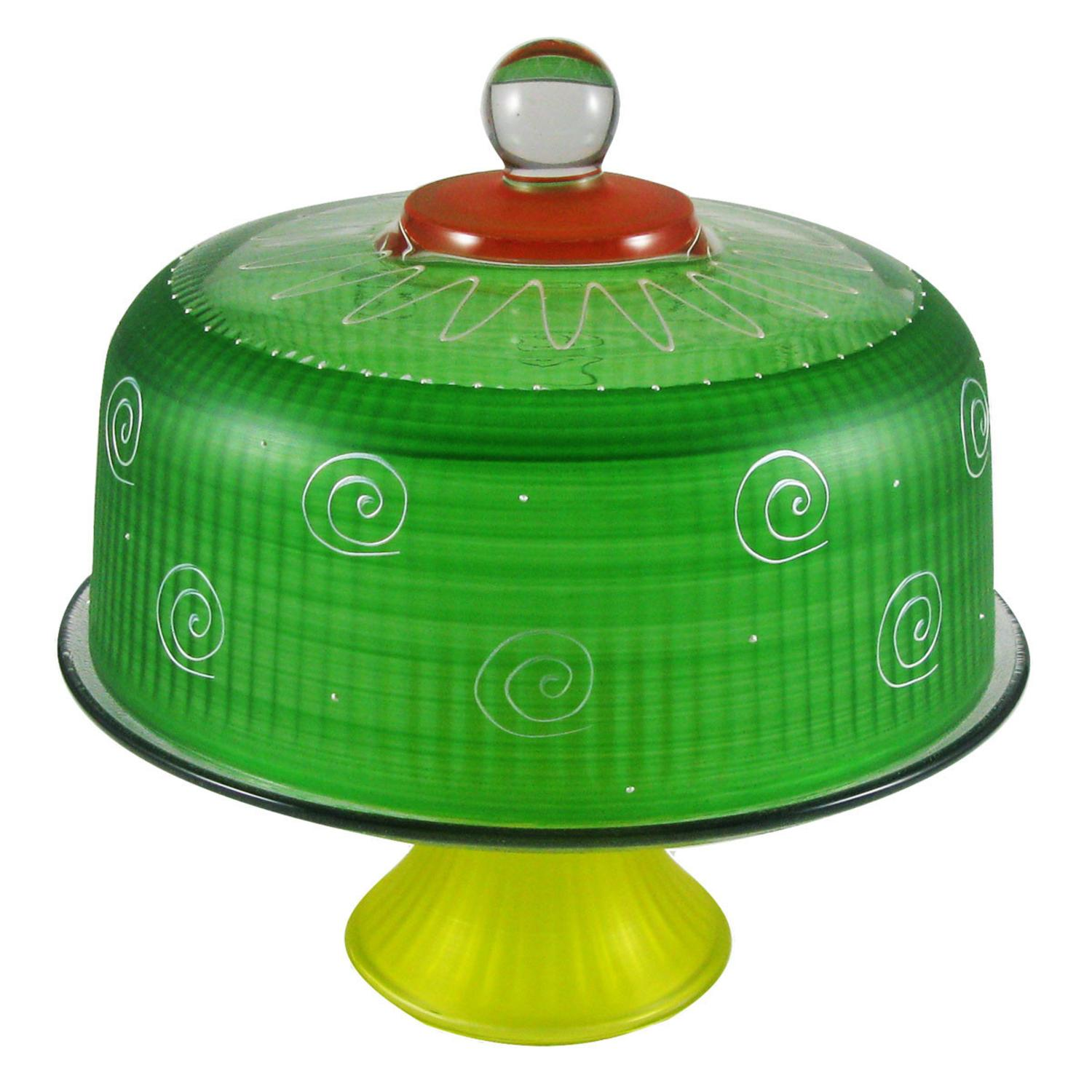Frosted Dark Green and White Hand Painted Glass Convertible Cake Dome 11""