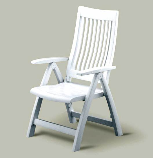 Folding Reclining Patio Chair with High Back, White Frame