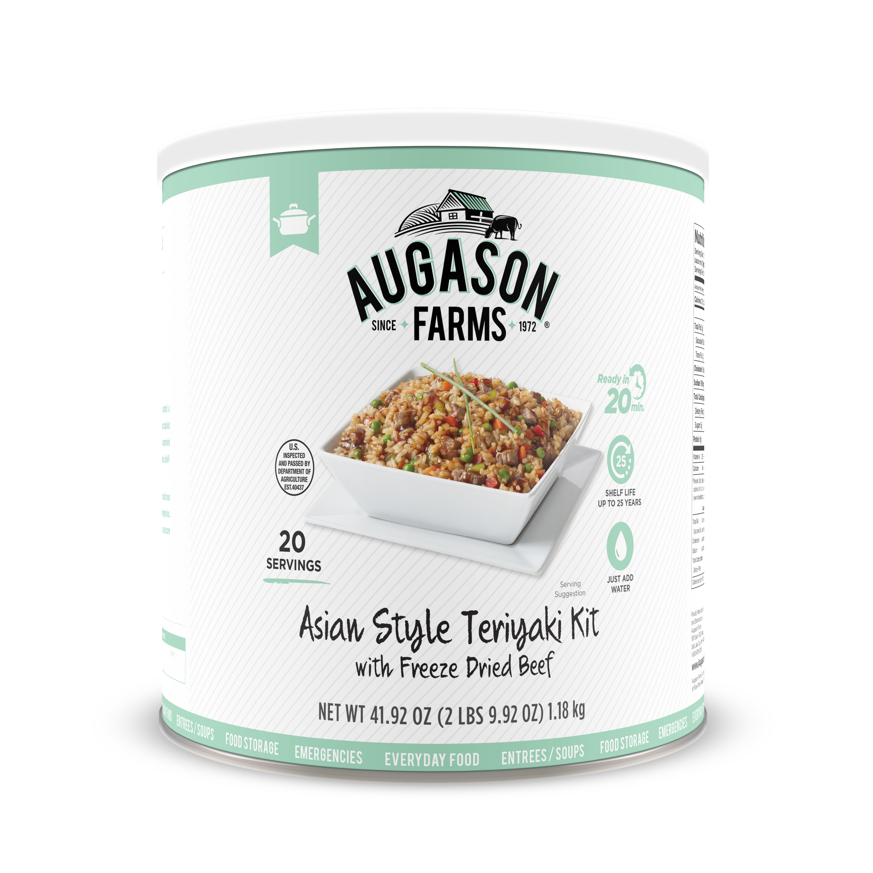 Augason Farms Asian Style Teriyaki Kit with Freeze Dried Beef 41. 92 oz No. 10 Can