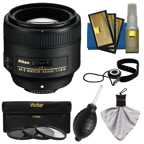 Nikon 85mm f/1.8G AF-S Nikkor Lens with 3 UV/CPL/ND8 Filters + Cleaning Kit for D3200, D3300, D5200, D5300, D7000, D7100, D610, D800, D810, D4s DSLR Cameras