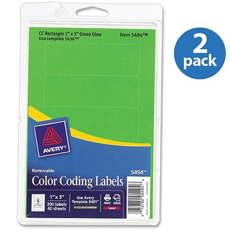 (2 Pack) Avery Removable Rectangular Color Coding Labels