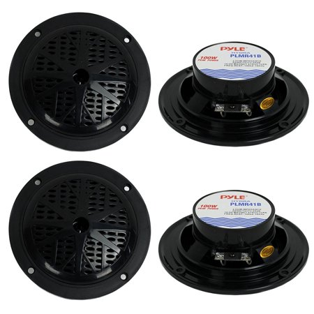 PLMR41B 4-Inch 200W Dual Cone Waterproof Marine Speakers (2 Pairs), MAX Power Handling: 100 Watts (200 watt per 4 Speakers) By (Best 15 Inch Powered Speakers)