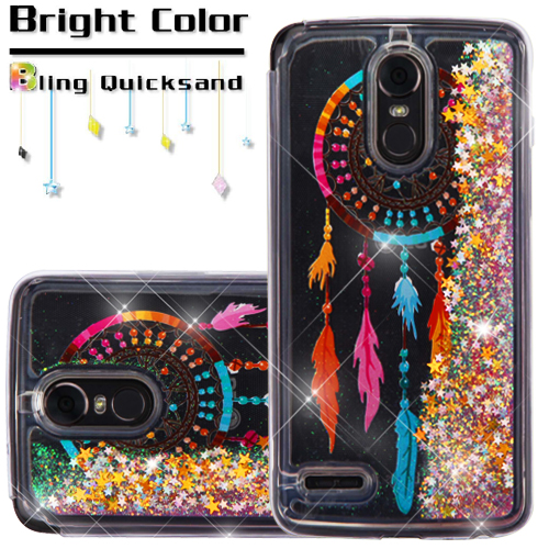 LG Stylo 3 / LS777 / MP450 / TP450 Phone Case BLING Diamonds Hybrid Liquid Glitter Quicksand Rubber Silicone TPU Protective Hard Cover - Dreamcatcher Gold Stars