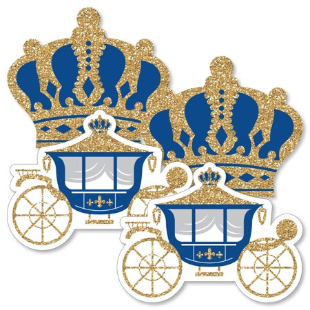Royal Prince Charming - Crown & Carriage Decorations DIY Baby Shower or Birthday Party Essentials - Set of 20