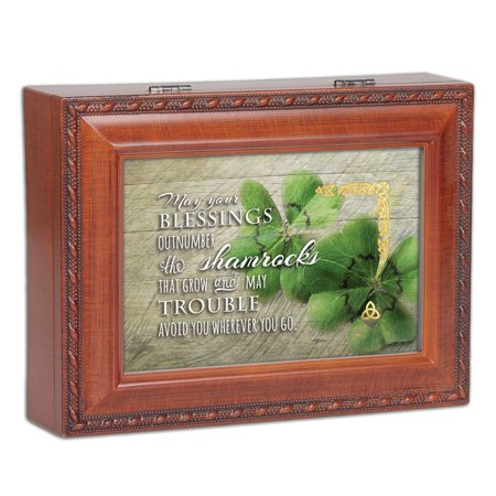 MB2087 Blessings Outnumber the Shamrocks Wood Finish Jewelry Music Box plays Irish Eyes Smiling