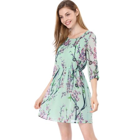 Women's Slim Fit Floral Short Dress Green (Size M / - Green M&m Dress