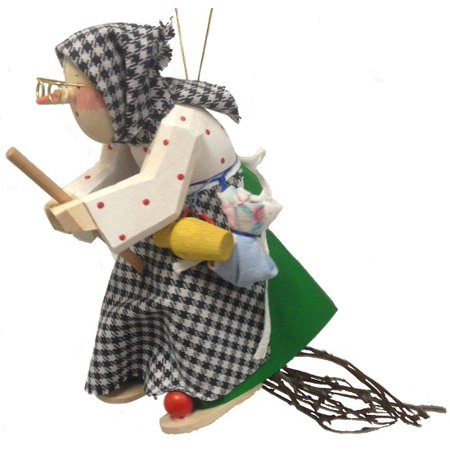 Witch Brooms (Polka Dot Kitchen Witch Riding a Broom German Wood Halloween Ornament)