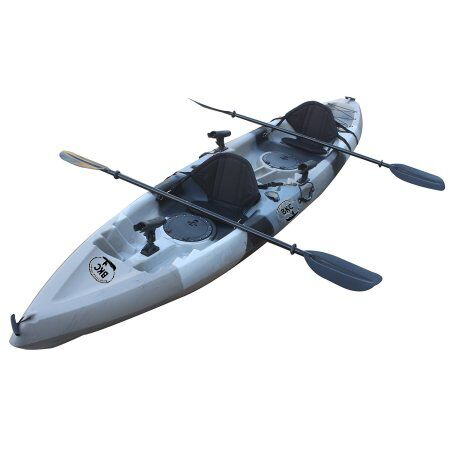 BKC UH-TK181 12.5 foot Sit On Top Tandem Fishing Kayak with Paddles and Seats by Brooklyn Kayak Company