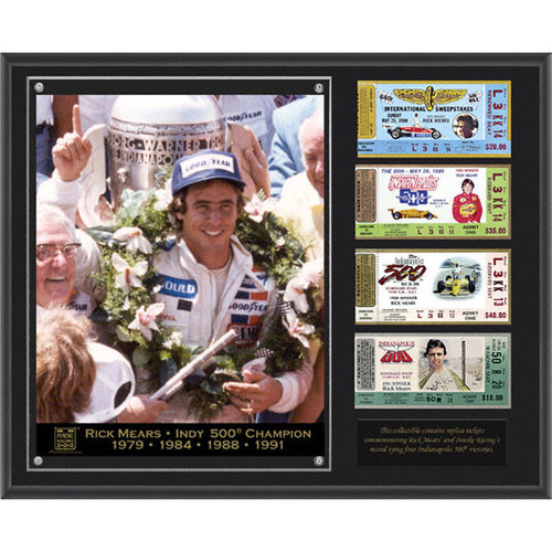 Rick Mears Sublimated 12x15 Plaque | Details: 4-time Indianapolis 500 Champion, with 4 Replica Tickets