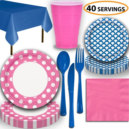 Disposable Tableware, 40 Sets - Hot Pink and Royal Blue - Dotted Dinner Plates, Scallop Dessert Plates, Cups, Lunch Napkins, Cutlery, and Tablecloths:  Party Supplies Set](Party Plates And Cups)