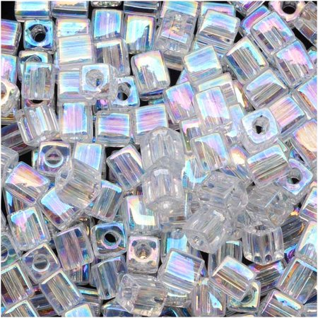 Miyuki 4mm Glass Cube Beads Crystal Clear AB #250 10 Grams](Halloween Geschichten Ab 10)