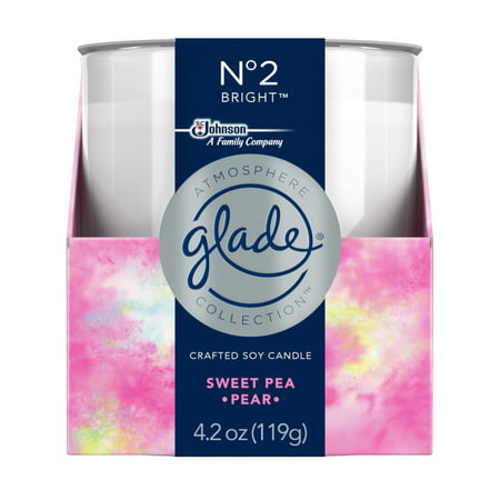 Soy Travel Candle - Glade Soy Candle 1 CT, No. 2 Bright, 4.2 OZ. Total, Air Freshener