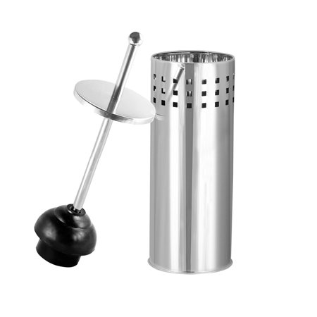 (Toilet Plunger with Holder for Bathroom, Multi Drain Suitable also for Bathtubs, Quick Dry, Chrome)