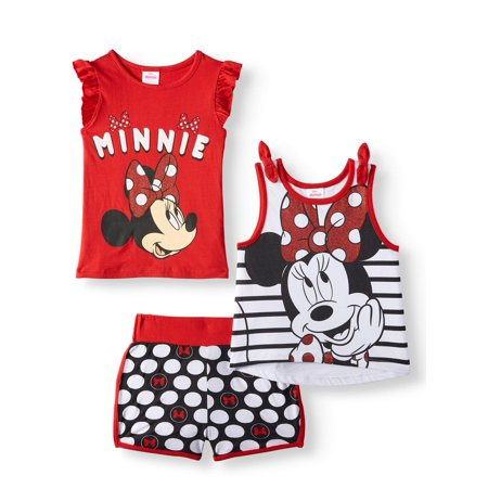 Minnie Mouse Outfit For Infants (Minnie Mouse Tank Top, T-shirt and Shorts, 3pc Outfit Set (Toddler)