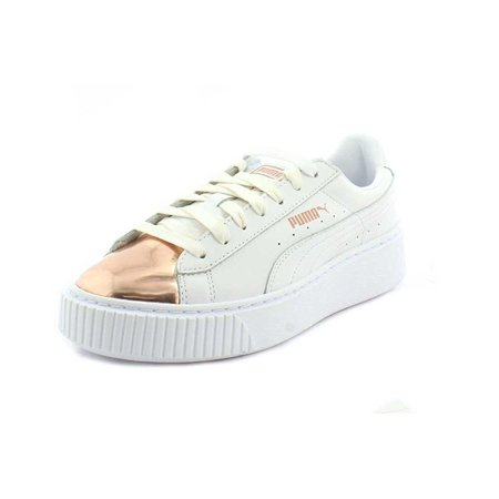 big sale 8d384 ee218 puma basket platform metallic women's shoes black/rose gold 366169-02 (7.5  b(m) us)