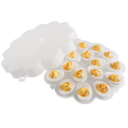 Chef Buddy Set Of 2 Deviled Egg Trays W/ Snap On Lids - Holds 36 Eggs